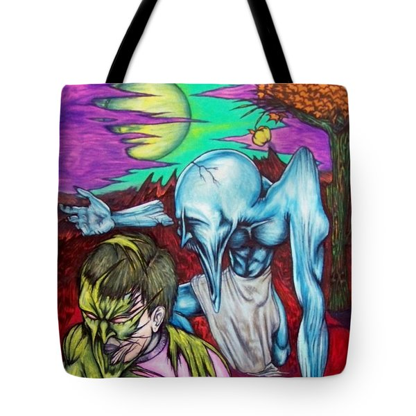 Tote Bag featuring the drawing Growing Evils by Michael  TMAD Finney