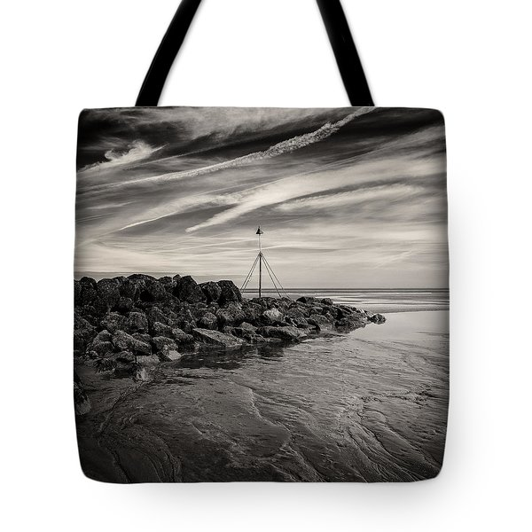 Groyne Marker Tote Bag by Dave Bowman