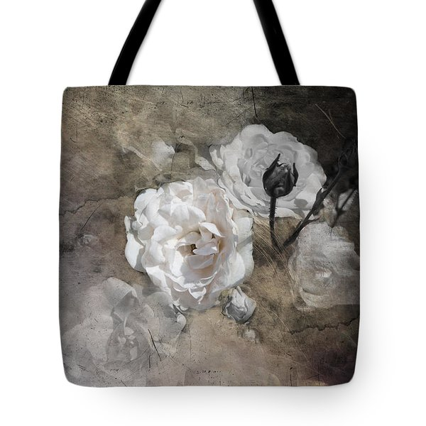 Grunge White Rose Tote Bag