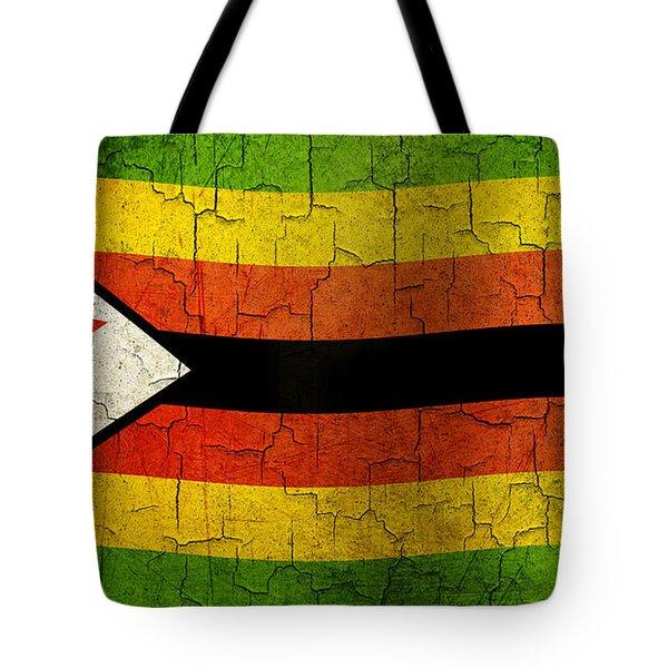 Grunge Zimbabwe Flag Tote Bag