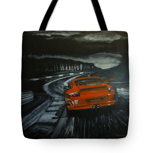 Tote Bag featuring the painting Gt3 @ Le Mans #2 by Richard Le Page