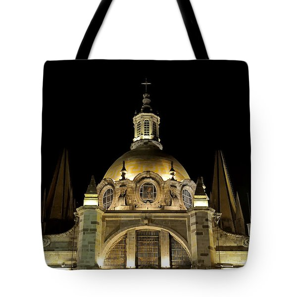 Tote Bag featuring the photograph Guadalajara Cathedral At Night by David Perry Lawrence