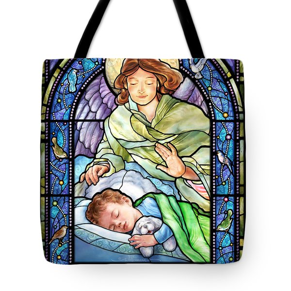 Guardian Angel With Sleeping Boy Tote Bag