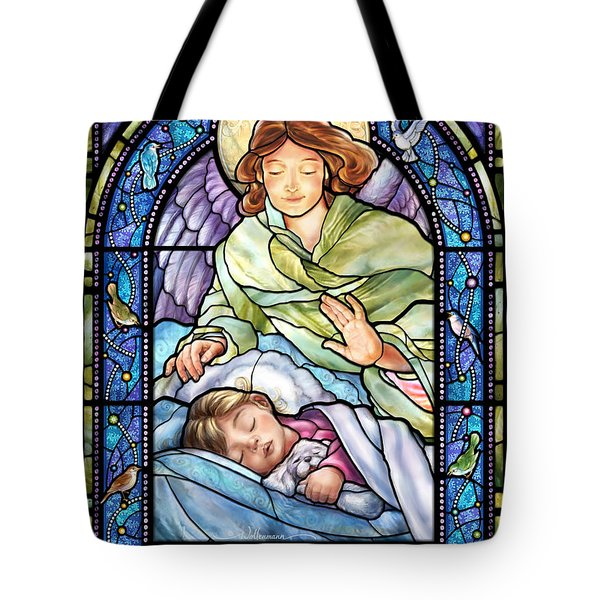 Guardian Angel With Sleeping Girl Tote Bag