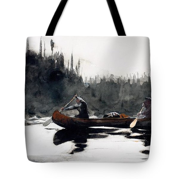 Guides Shooting Rapids Tote Bag by Winslow Homer
