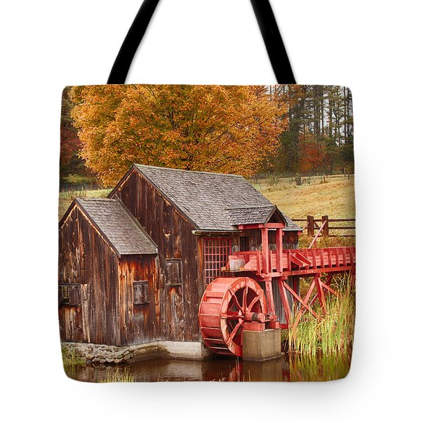 Tote Bag featuring the photograph Guildhall Grist Mill by Jeff Folger