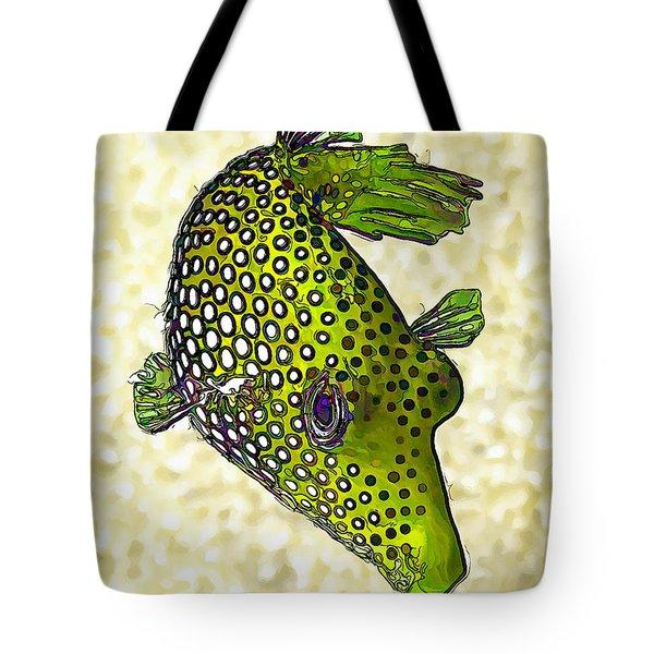 Guinea Fowl Puffer Fish In Green Tote Bag