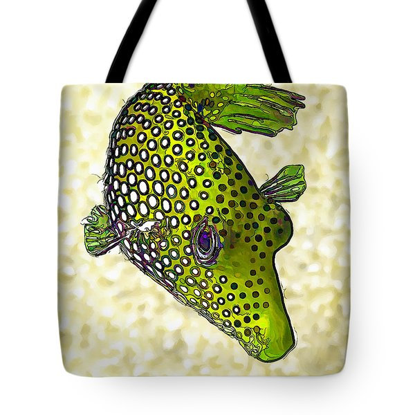 Guinea Fowl Puffer Fish In Green Tote Bag