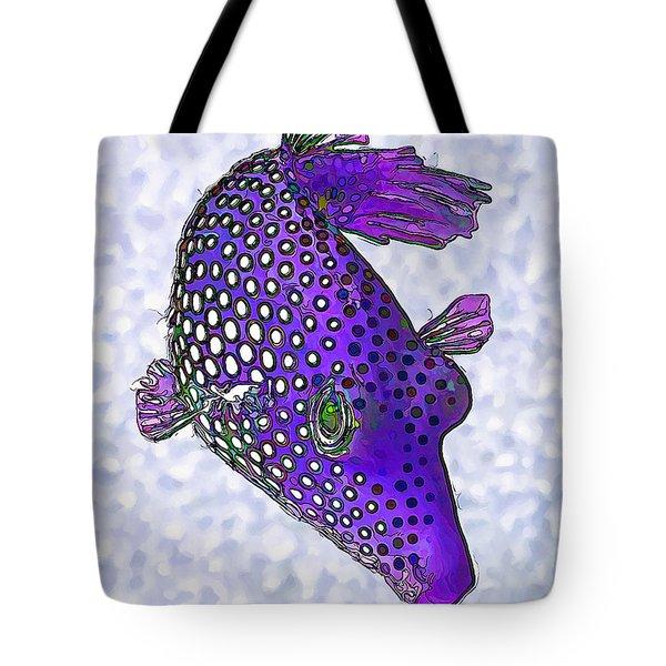 Guinea Fowl Puffer Fish In Purple Tote Bag
