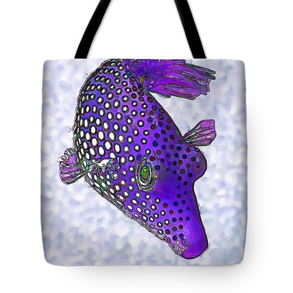 Guinea Fowl Puffer Fish In Purple Tote Bag