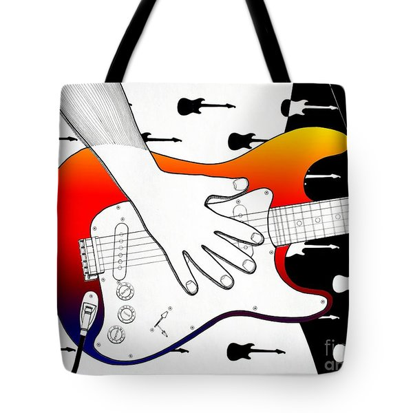 Tote Bag featuring the drawing Guitar 1 by Joseph J Stevens