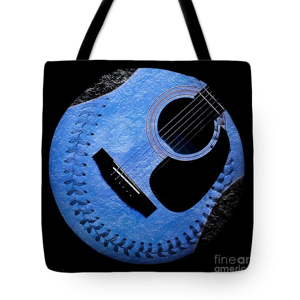 Guitar Blueberry Baseball Square Tote Bag by Andee Design