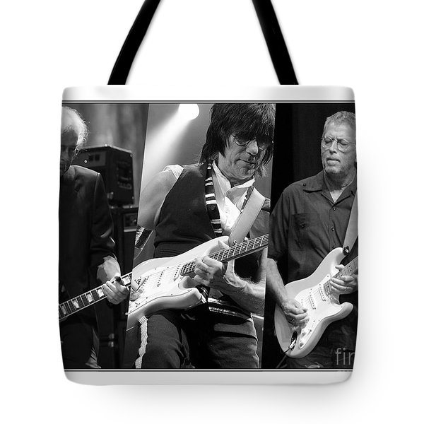 Guitar Legends Jimmy Page Jeff Beck And Eric Clapton Tote Bag