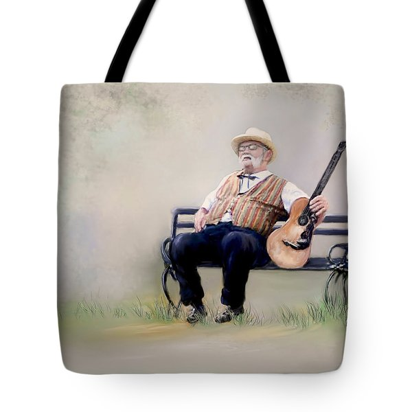 Guitar Man Tote Bag by Bonnie Willis