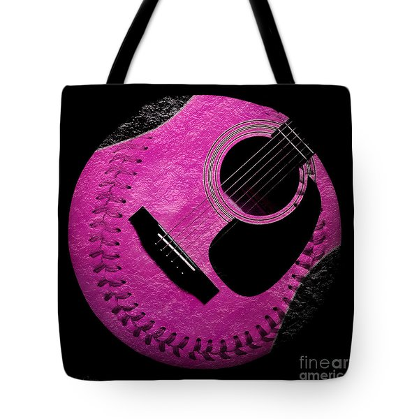 Guitar Raspberry Baseball Tote Bag by Andee Design
