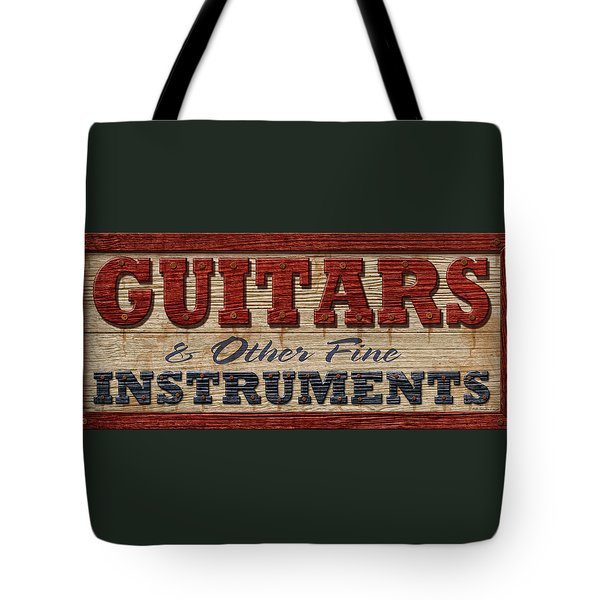 Guitar Sign Tote Bag by WB Johnston