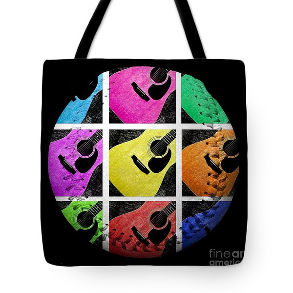 Guitar Tic Tac Toe White Baseball Square Tote Bag by Andee Design
