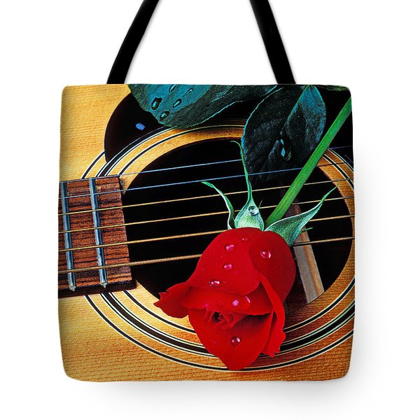 Guitar With Single Red Rose Tote Bag