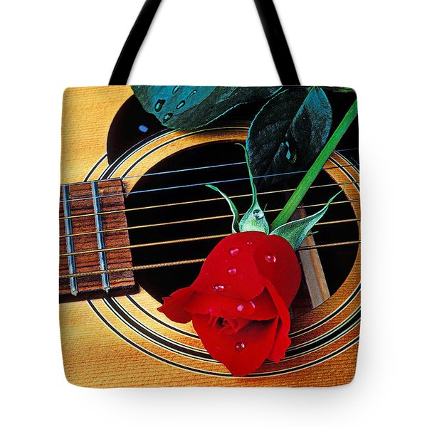 Guitar With Single Red Rose Tote Bag by Garry Gay