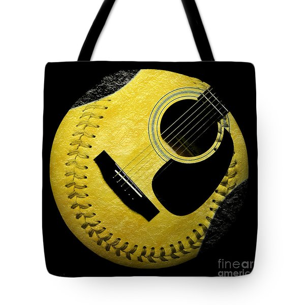 Guitar Yellow Baseball Square Tote Bag by Andee Design