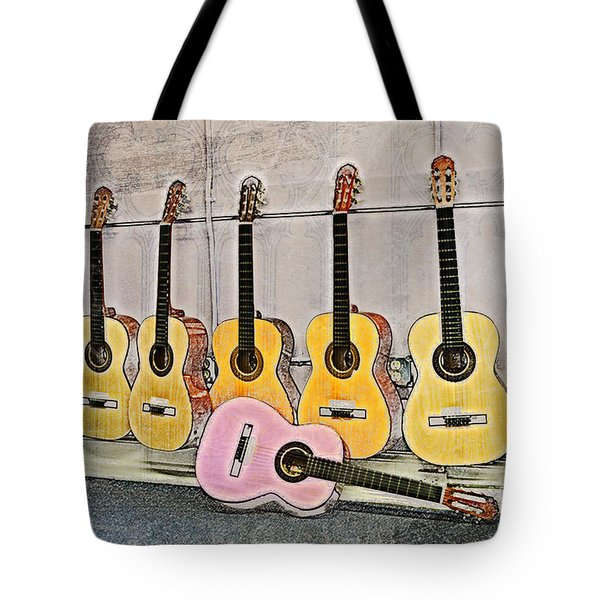 Tote Bag featuring the digital art Guitars by Erika Weber