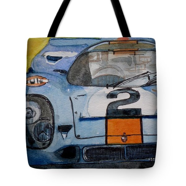 Tote Bag featuring the painting Gulf Porsche by Anna Ruzsan