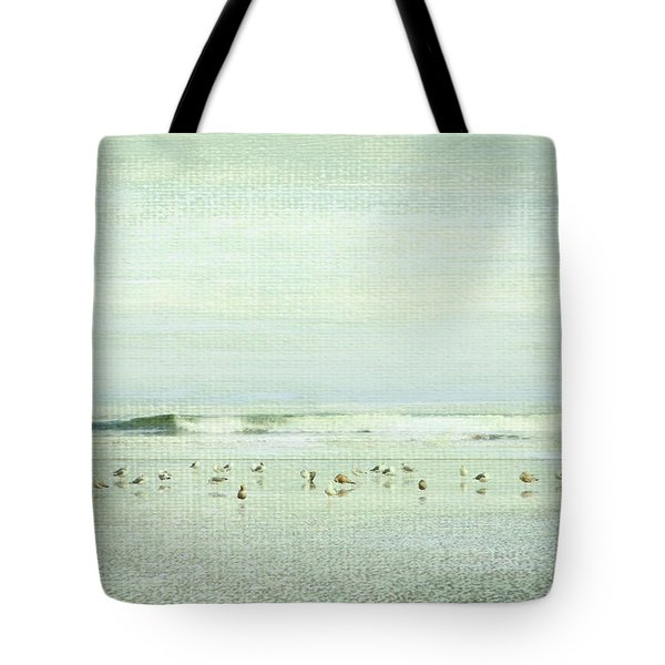 Gulls And Waves Green Tote Bag