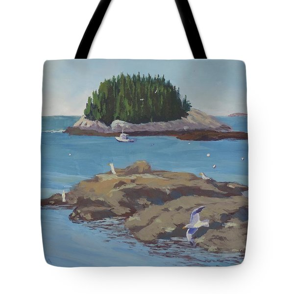 Gulls At Five Islands - Art By Bill Tomsa Tote Bag