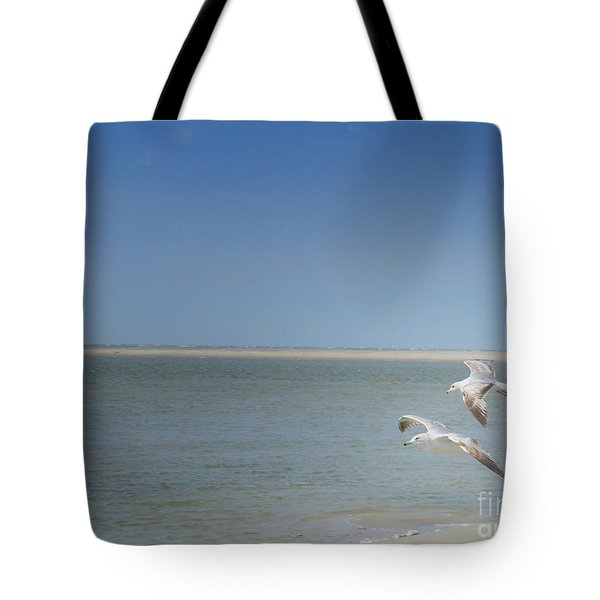 Tote Bag featuring the photograph Gulls In Flight by Erika Weber