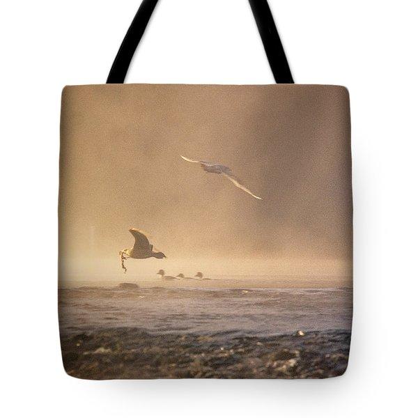 Gulls In The Fog Tote Bag