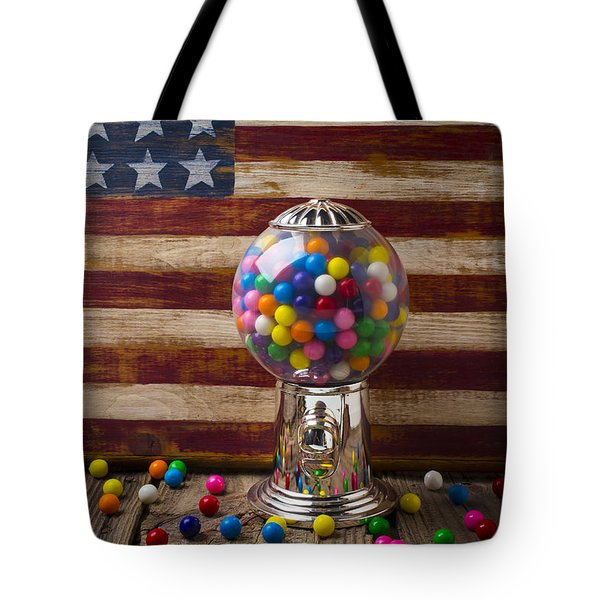 Gumball Machine And Old Wooden Flag Tote Bag by Garry Gay