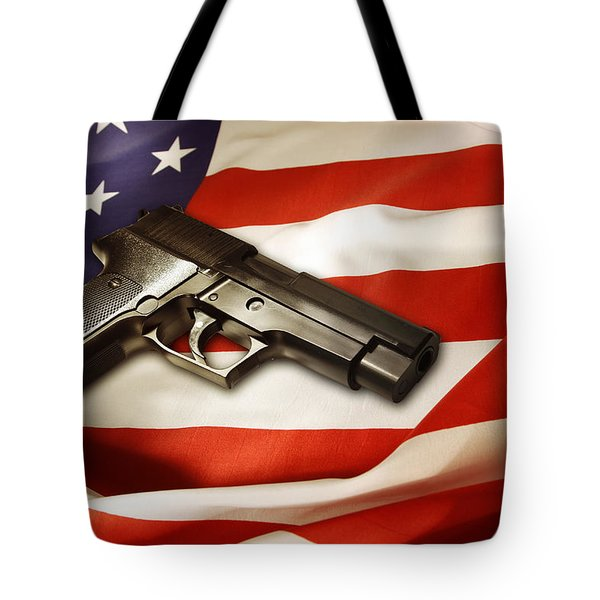 Gun On Flag Tote Bag