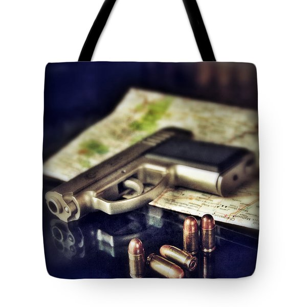 Gun With Bullets And Map Tote Bag by Jill Battaglia
