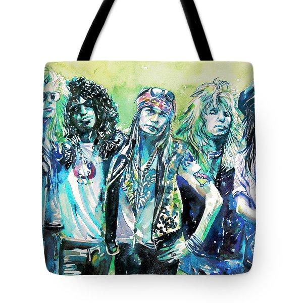 Guns N' Roses - Watercolor Portrait Tote Bag