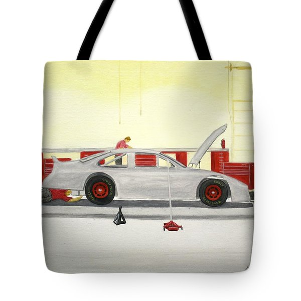 Guys Back At The Shop Tote Bag