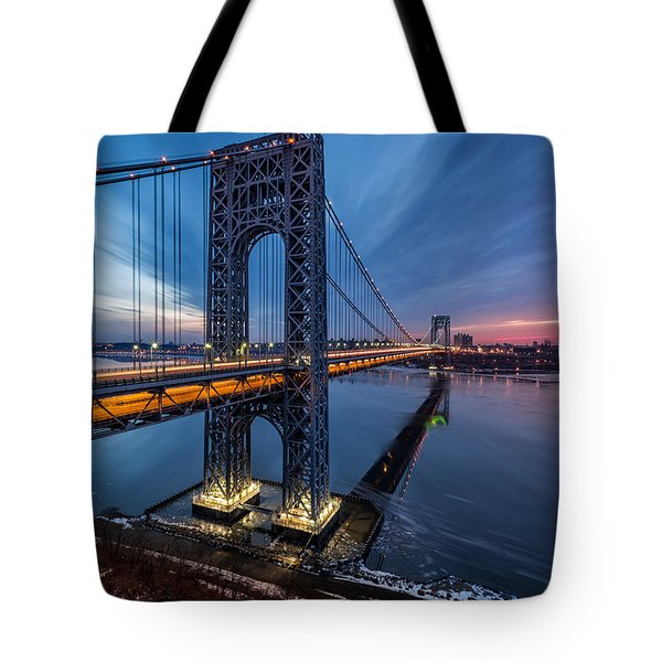 Tote Bag featuring the photograph Gwb Sunrise by Mihai Andritoiu