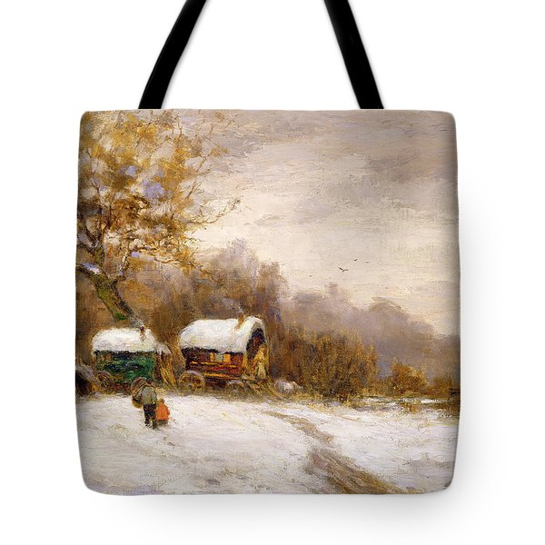 Gypsy Caravans In The Snow Tote Bag