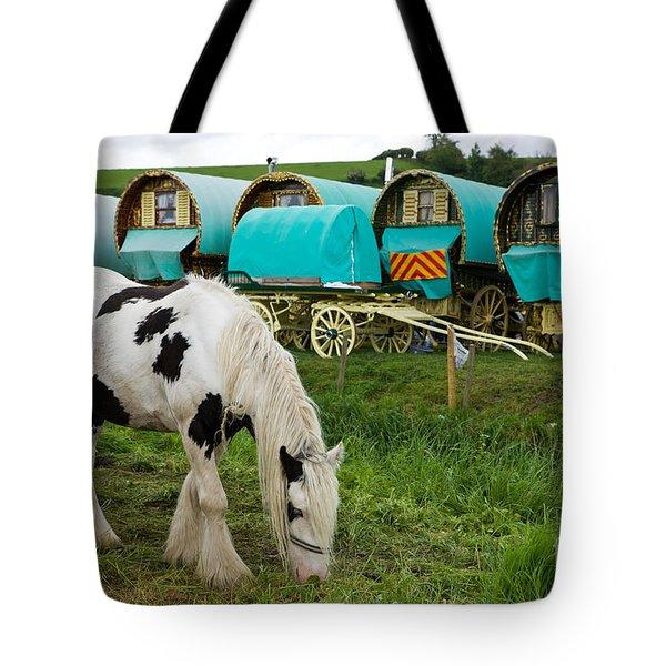 Gypsy Cob And Wagons Tote Bag by Liz  Alderdice