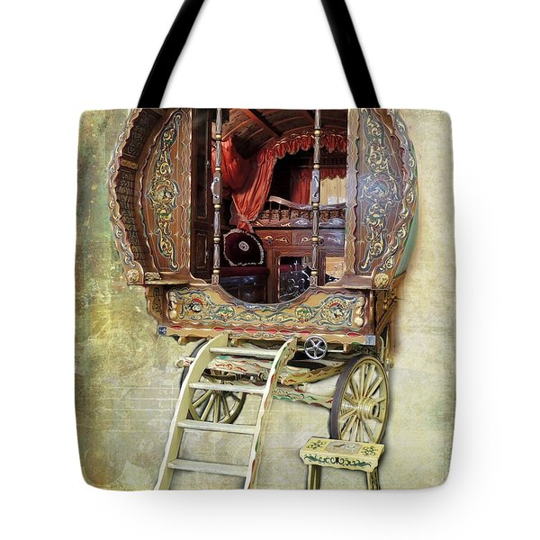 Gypsy Wagon Tote Bag by Mim White