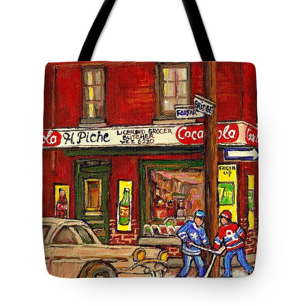 H. Piche Grocery - Goosevillage -paintings Of Montreal History- Neighborhood Boys Play Street Hockey Tote Bag by Carole Spandau