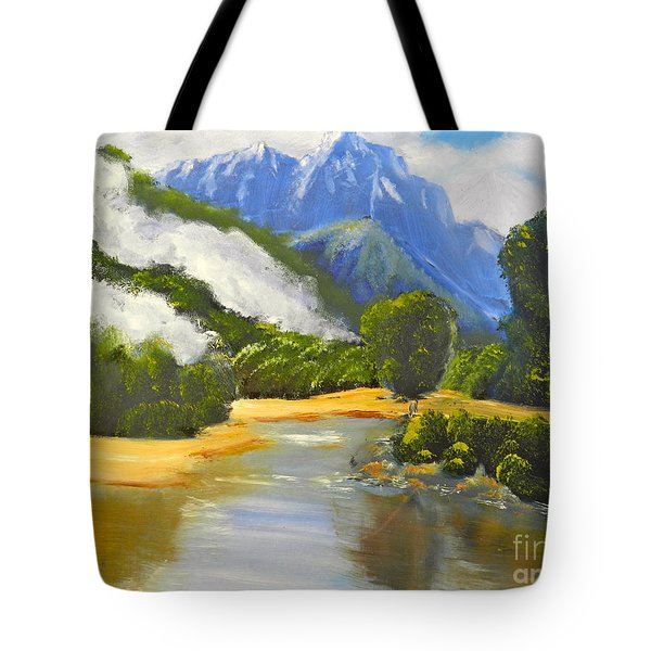 Tote Bag featuring the painting Haast River New Zealand by Pamela  Meredith