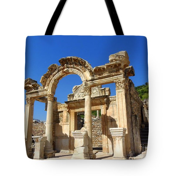 Tote Bag featuring the photograph Hadrian Temple Ephesus by Lou Ann Bagnall