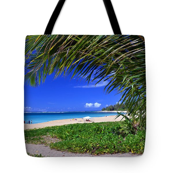 Haena Beach Turquoise Cove Tote Bag by Marie Hicks