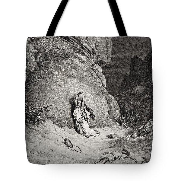 Hagar And Ishmael In The Desert Tote Bag by Gustave Dore