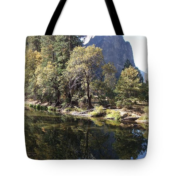 Tote Bag featuring the photograph Half Dome Reflection by Richard Reeve