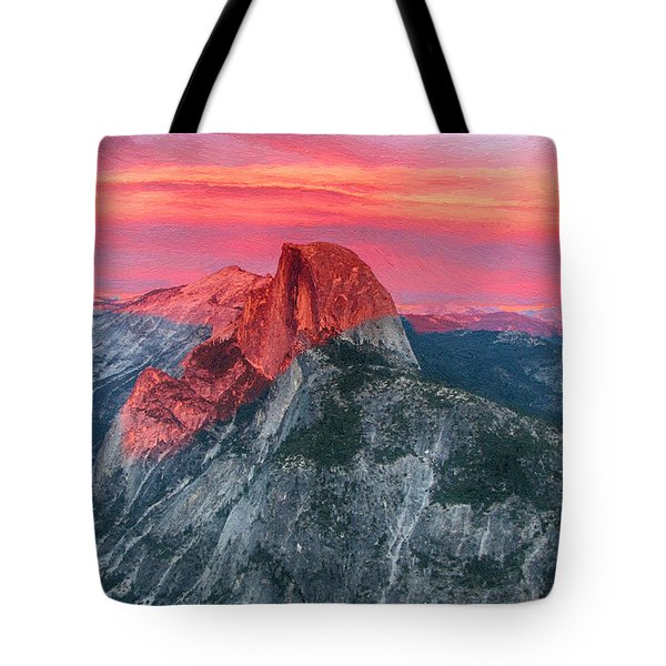 Tote Bag featuring the painting Half Dome Sunset From Glacier Point by John Haldane