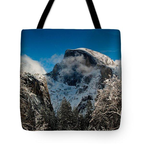 Half Dome Winter Tote Bag by Bill Gallagher