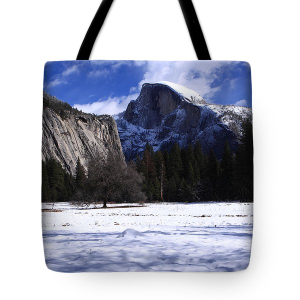 Half Dome Winter Snow Tote Bag