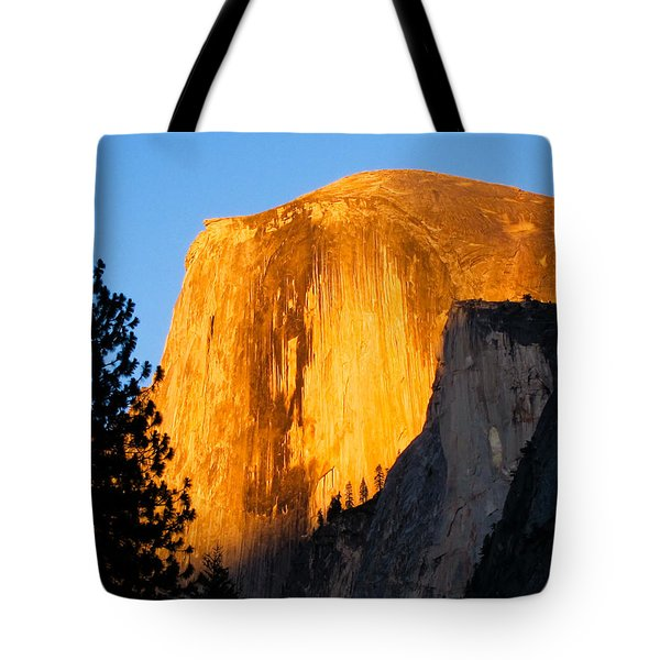 Tote Bag featuring the photograph Half Dome Yosemite At Sunset by Shane Kelly