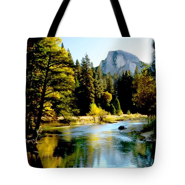 Half Dome Yosemite River Valley Tote Bag
